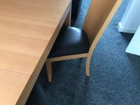 Wood dinning table and 6 chairs with 2 side board from John Lewis good condition