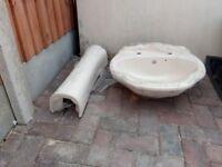 New unused pedestal and sink