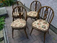 Ercol Fleur-de-Lys dining chairs x 4 with seat pads