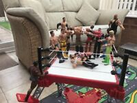 Wrestling ring and 14 wrestlers for sale from a smoke & pet free home in very good condition