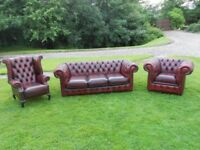 Chesterfield Oxblood Leather 3+1+1 Suite