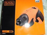 BLACK & DECKER CORDLESS SCREWDRIVER (Brand New & Boxed)