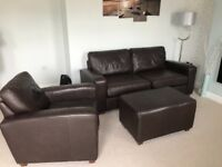 NEXT - LEATHER SOFA, ARMCHAIR AND FOOTSTOOL FOR SALE
