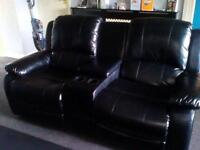Leather double recliner with storage box and cup holders