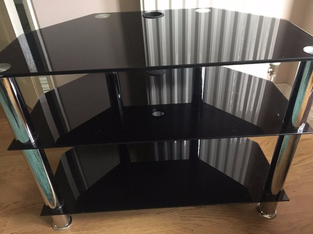 TV Stand for 40 inch TV balck glass chrome legs