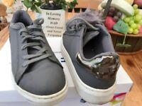 Office nubuck grey Pom Pom trainers