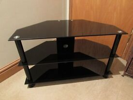 Black Smoked Glass 3 tier TV Table