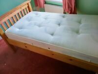Solid wooden single bed frame good condition
