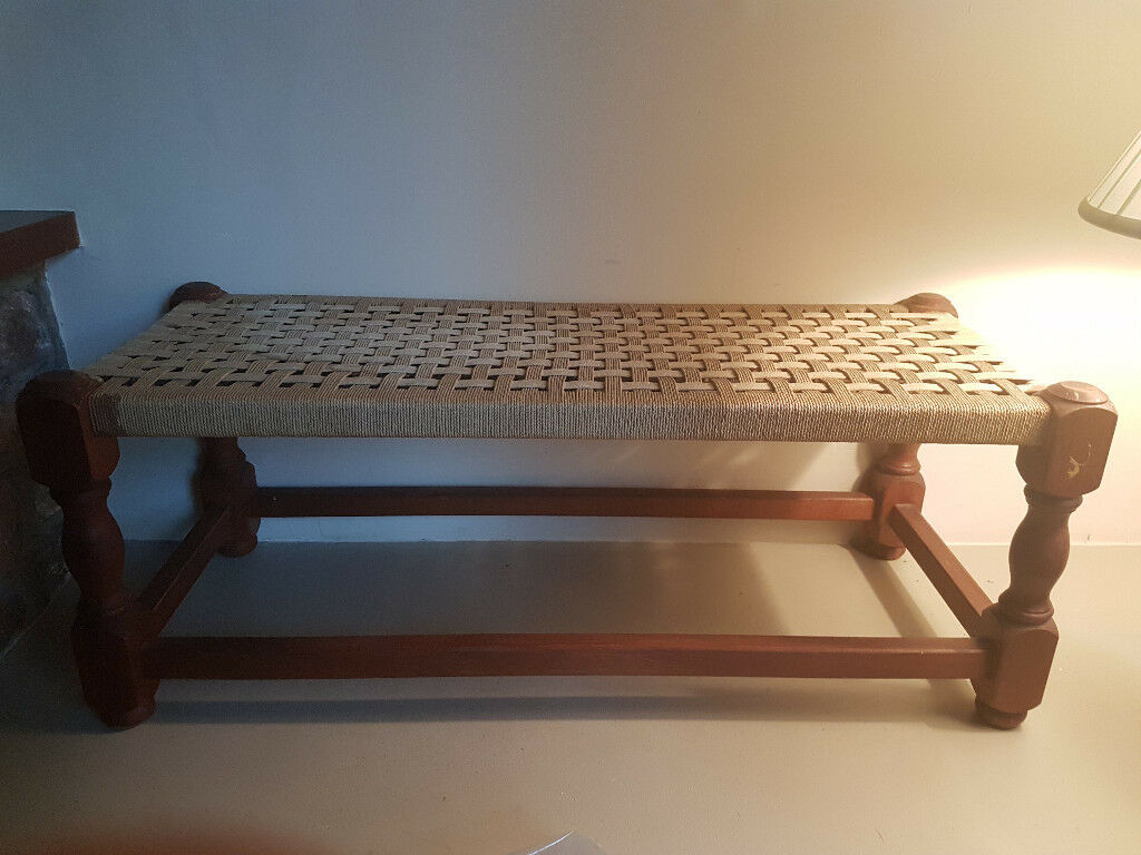 Vintage seagrass stool - double size
