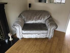 Large crushed velvet settee and love chair