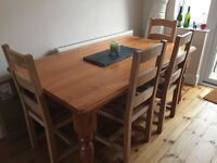 Solid Pine Dining Table & 6 Matching Chairs