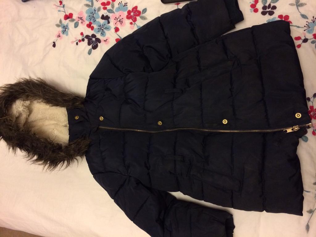 M&S blue school coat. (5-6)