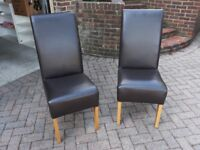 Six Faux Leather Dining Chairs