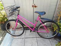 ladies pink opollo 20 inch frame bike with basket and lock