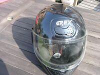 GREX Black Italian Full Face Small Motorcycle Helmet