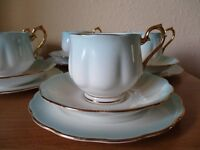 "ROYAL ALBERT ""RAINBOW"" TEA SET - VINTAGE WEDDING THEME - BLUE AND GOLD"