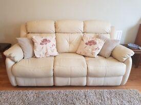 NEW PRICE 3-Seater recliner cream (vanilla) leather sofa + chair