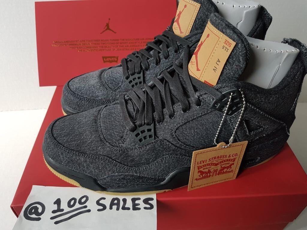 9093daefbdf5 Nike Airjordan 4 x Levis NRG Black Denim Jeans Collaboration UK10.5 US11.5  EU45.5 100sales