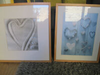 TWO BEECH IKEA FRAMES WITH LOVEHEART PRINTS