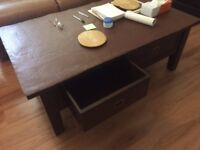 Low level Coffee table with two storage drawers possibly dark oak