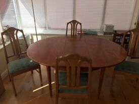 Dining table and 4 chairs by Parker Knoll
