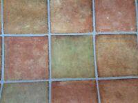 13ft by 4ft Terracotta and green tile effect vinyl floor covering