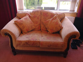 £60 Classic Style Mustard Fabric 2 Seater Sofa with 2 Armchairs