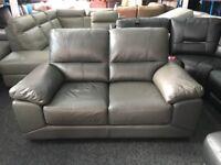 New/Ex Display Vixon Grey Leather 2 Seater Sofa