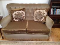 Vintage Brown Fringed 2 seater Sofa and 2x Armchairs £140 ono