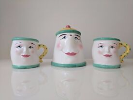 Hand painted unusual teapot and mugs
