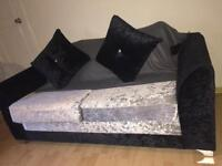 Silver and black crushed valvet sofa