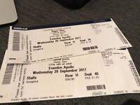 2x Besta Sigur Ros Tickets, Row H, Weds 20th, Apollo