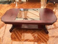 2 fully furnished wooden (glass top) coffee tables in good condition