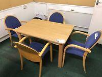 Light Oak Veneered Desk and Four Upholstered Chairs