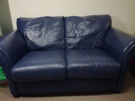 Navy two seater leather sofa