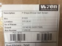 Shower screen P Shape brand new box. Size is 732mm W and H 1500