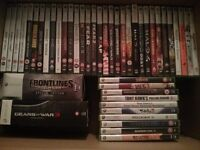 Xbox 360 job lot; working console, 44 games, 3 controllers (+ Guitar Hero), and other accessories