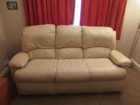 Used G plan leather three seater sofa with manual recliner chair in good condition