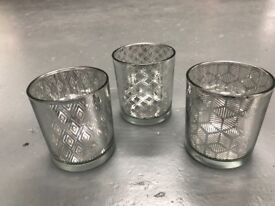 Job lot of silver tea light candle holder votives - ideal for wedding centrepieces or christmas.