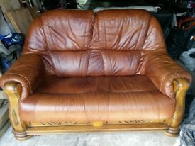 2 Seater Leather Settee With Oak Wood Frame