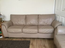 Three seater and two seater beige leathers sofas
