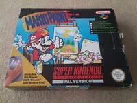 Mario Paint for SNES, game, mouse, mouse mat, box and instructions