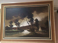 """Charming """"Dutch River Scene"""" Signed By F Van Beeck, Oil On Canvas"""