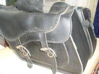 Harley Davidson leather saddlebags USA made and chrome side