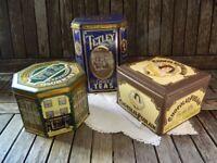 Trio Collection of Vintage Tetley/Royal Richmond Tea Tins/Chocolat Poulain