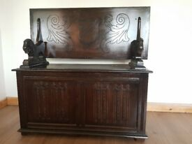 Antique carved lion oak Monk's settle BENCH trunk/STORAGE chest. Made by Marrus Ltd. LOCAL DELIVERY