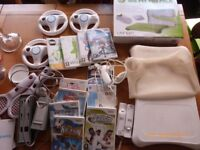 Nintendo Wii Fit bundle Balance board console, charger, nunchucks, steering wheels