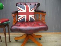 Stunning Oxblood Leather Chesterfield Captains Chair