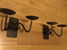 2 WALL MOUNTED TWIN CANDLE CANDLE SCONCES CAST IRON £16