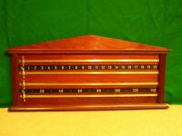 Snooker Scoreboard in solid wood with brass pointers, choice of mahogany & oak in various finishes